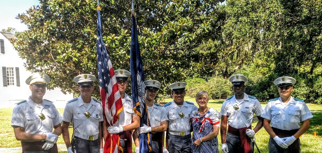 Regent MaeRe Skinner with the Citadel Color Guard
